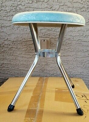 "Vintage BABY BLUE FLOWERS Retro Mid Century 16"" COSCO Chrome Vinyl Stool"
