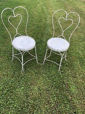 VINTAGE ANTIQUE WHITE METAL WROUGHT IRON PATIO Ice Cream PARLOR CHAIR Heart