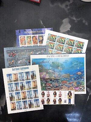 One Lot US Postage Stamps 5 Sheets One Book $48.10 Face Value On Sale
