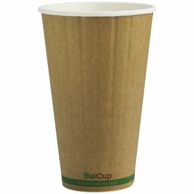 BioPak Double-wall Coffee Cups 16oz Kraft 600 Box