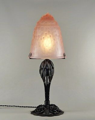 MULLER FRERES : A LARGE FRENCH 1930 ART DECO LAMP wrought iron .....  lampe 1925
