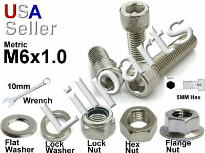 Metric M6 x 1.0 Stainless Steel Allen Hex Head Socket Cap Screw Bolt Washer Nut