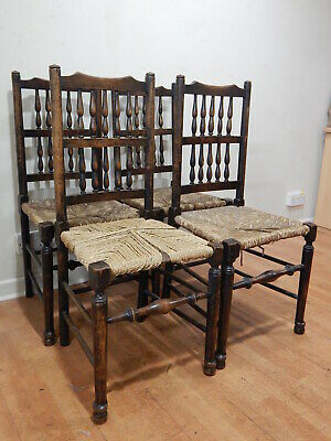 set of 4 vintage turned oak farmhouse dining chairs with woven rush wicker seats
