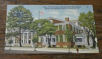 Antique Vtg Linen Postcard Home of Chief Justice Marshall High School Richmond