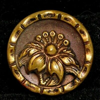 Antique Vintage Metal BUTTON Tinted Brass Victorian Deco Lily A13