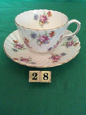 Aynsley Bone China England Cup & Saucer Swirl Multi Flower Pink Roses