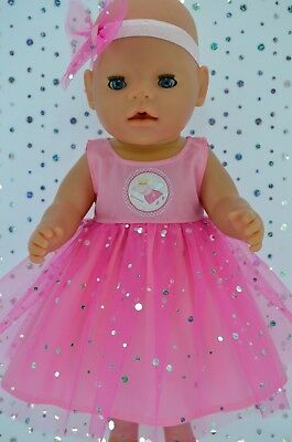"Play n Wear Dolls Clothes To Fit 17"" Baby Born PINK SEQUIN DRESS~HEADBAND"