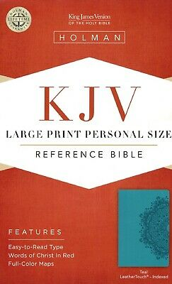 KJV Large Print Personal Size Reference Bible, Teal LeatherTouch, Indexed...