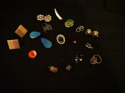 Junk Drawer Lot Jewelry buttons girl scout pins earrings olive spider Vintage