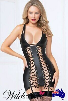 NEW Seven Til Midnight Bold Lustre Wet-Look Lace-Up Chemise with G-String
