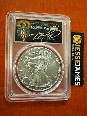2019 W Burnished Silver Eagle Pcgs Sp70 Torch Cleveland First Day Issue Pop 25