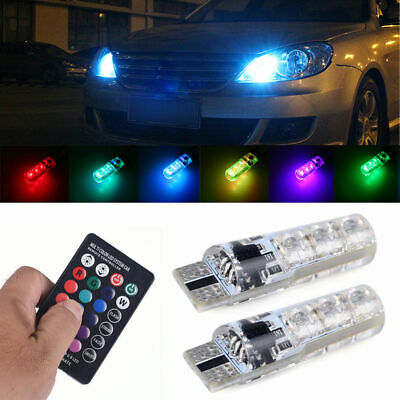 Set T10 W5W 5050 RGB Remote Control Car LED Light 6SMD Colorful Side Light Bulbs