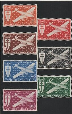 St Pierre & Miquelon - French Colonial- Complete Set Of 7 Stamps Mh ( Spmi 829 )