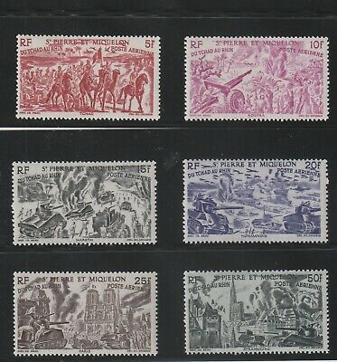 St Pierre & Miquelon - French Colonial- Complete Set Of 6 Stamps Mh ( Spmi 828 )