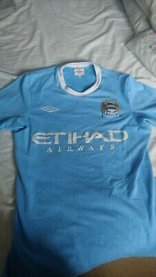 Manchester City Home Shirt Tailered By Umbro 2009 2010 Small Mens/36 Inch