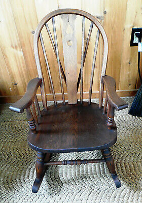 Vintage Antique Child's Oak Windsor Fiddleback Rocking Chair