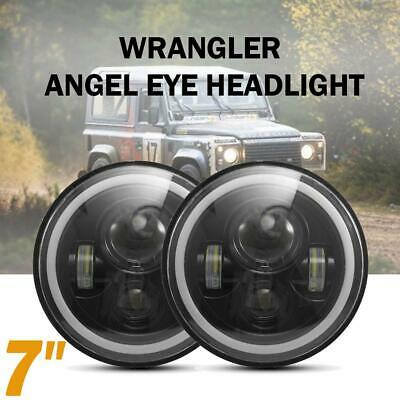 "Pair 7""inch Round LED Headlights for Jeep Wrangler TJ JK 97-17 Halo Angel Eyes"