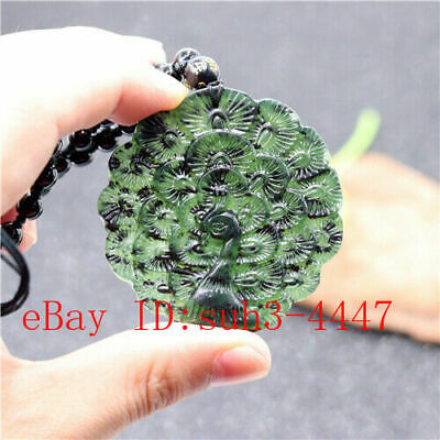 Black Green Jade Peacock Pendant Double-sided Carved Necklace Jewellery Gifts