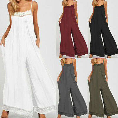 Women Harem Trousers Jumpsuit Playsuit Bib Dungarees Plus Size Wide Leg Overalls