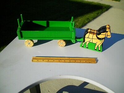 "Vintage Horse Drawn Wooden Pull Toy Farm Hay Wagon John Deere Green 19"" Nice"
