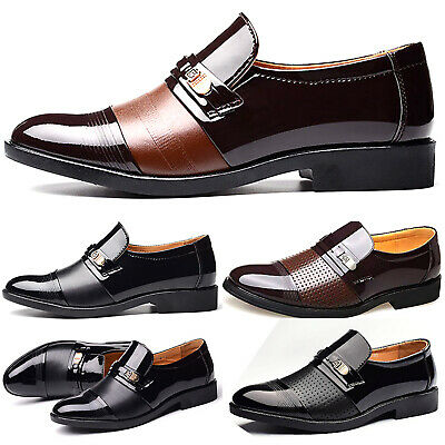 Men's Shiny Leather Pointed Slip On Smart Formal Wedding Work Dress Shoes Party