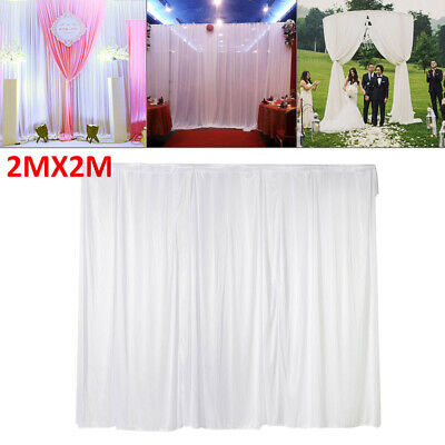 2MX2M White Tulle Curtain Stage Backdrop Photography Background Wedding Birthday