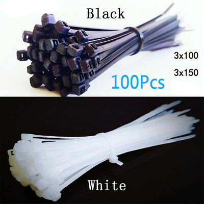 100pcs Plastic Nylon Wire Cable Zip Ties Self-Locking cable ties Black/White OU