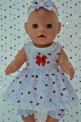 "Play n Wear Dolls Clothes For 17"" Baby Born STRAWBERRY DRESS~BLOOMERS~HEADBAND"