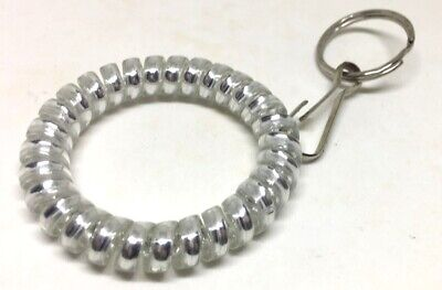 """Silver Elastic Wrist Band Key Ring Chains,Colorful Spiral Stretchable 2"""" Coil"""