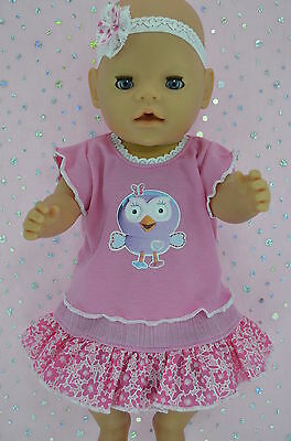 """Play n Wear Dolls Clothes To Fit 17"""" Baby Born PINK/PATTERN SKIRT~TOP~HEADBAND"""