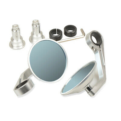 CNC Aluminum moto Rearview mirrors universal silver Round For Harley Davidson