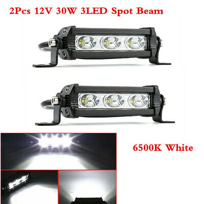 2Pc 12V 30W 3LED Spot Beam Work Light Bar For Car ATV SUV TrucK Boat 6500K White