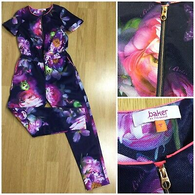 Ted Baker Girls Purple Floral All In One Jumpsuit Playsuit Age 9 Years Boiler