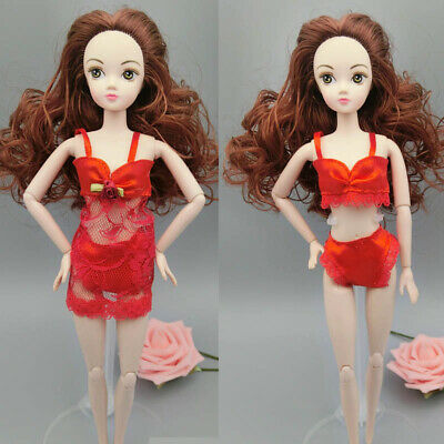Red Fashion Clothes For Barbie Doll Pajamas Lingerie Nightwear Lace Night Dress