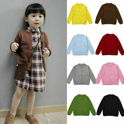 Toddler  Baby Girl Warn Knitted Sweater Cardigan Coat Long Sleeve Top Outwear AU