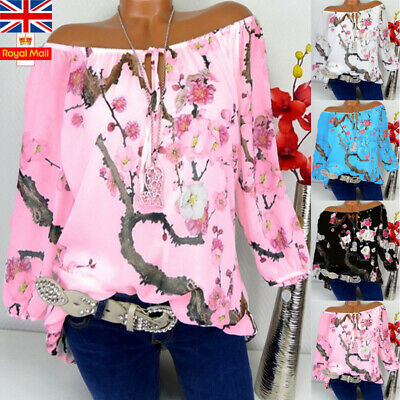 Plus Size Women Floral Tunic Blouse Shirt Summer Off Shoulder Casual Baggy Tops