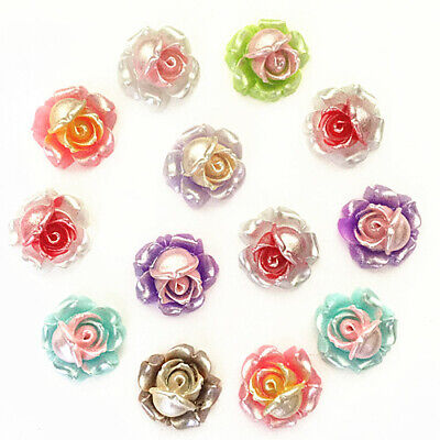 25-50pcs Mix Resin Rose Flower flatback Appliques For phone/wedding/crafts