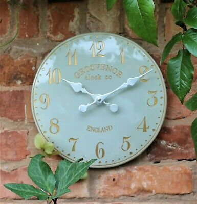 Wall Clock Grey Garden Indoor Outdoor Hand Painted church clock Arabic 30cm