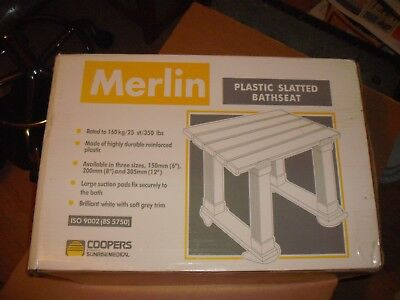 Coopers Merlin Hygienic Plastic Slatted Bath Seat  Suction Caps 45 cm by 28 cm