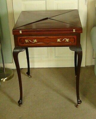 Victorian Envelope Folding Games Card Table With Castors & Drawer. M. D. Miller