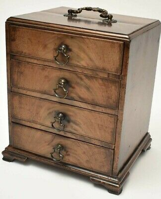 Antique Miniature Mahogany  Chest Drawers Apprentice Piece  Cabinet Georgian