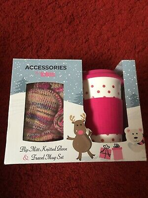 Accessories by Totes flip mitt knitted glove & travel mug boxed set