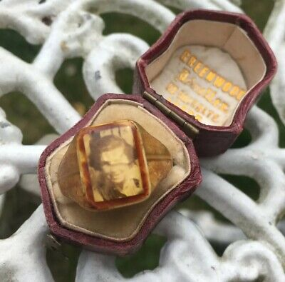 Vintage 1930's Art Deco Celluloid Portrait Photo Sweetheart Mourning Prison Ring