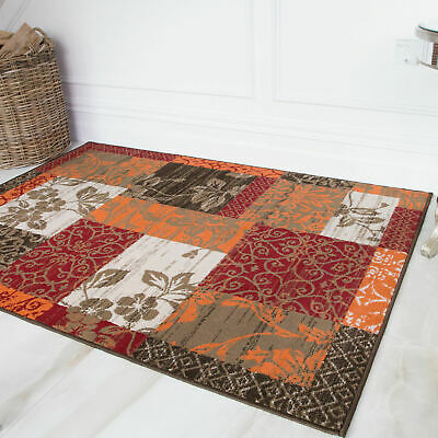 FLORALE TAPIS PATCHWORK Marron, Rouge, Orange, Beige et ...
