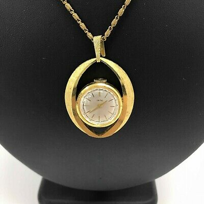 SMITHS Gold Metal Watch Pendant Necklace Long Thin Chain Vintage Retro SU120616