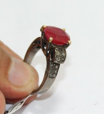 Antique Victorian 925 Sterling Silver Rose cut Diamond Red Ruby Ring 1839