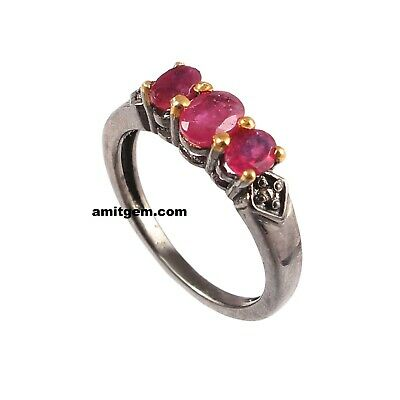 Antique 925 Sterling Silver Rose cut Diamond Red Ruby Victorian Ring R-87