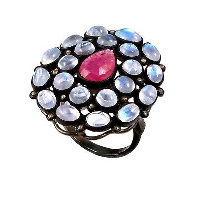 925 Sterling Silver Rose cut Diamond Moonstone Red Ruby Victorian Ring R-377