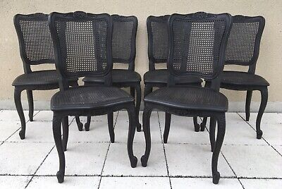 Vintage French Provincial Set Of 6 Bergère Cane Dining Chairs Louis XV Style