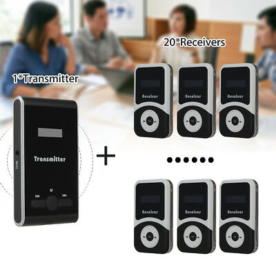 ATG100 Wireless Tour Guide System 1 Transmitter&20 Receiver For Teaching Meeting